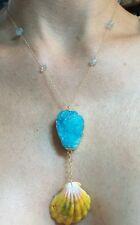 Aquamarine gold fill pendant necklace Hawaii moonrise sunrise shell Blue Drusy