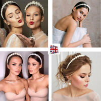 Women Girl Elegant Pearl Hair Hoop Headband Wedding Party Hairband Accessories-R