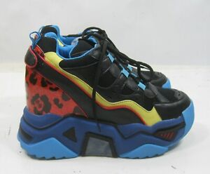 ANTHONY WANG -BLUE multicolored wedge heel ankle SNEAKERS Women Size  7.5