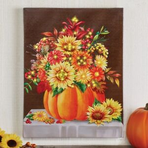 Lighted Color-Changing Fiber Optic Pumpkin Bouquet Thanksgiving Home Wall Canvas
