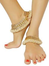 PL-75 Designer Indian Gold Tone Pearl Stone Payal Anklet Belly Dance Jewelry Set