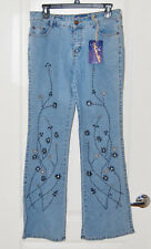 Vtg Embroidered black silver beaded flower bootcut flare JEANS 34 X 31 13 8 NEW