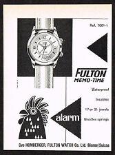 Fünfziger Jahre kleine Vintage 1956 Fulton Watch Co. Memo Zeit Alarm Watch Papier Printanzeige