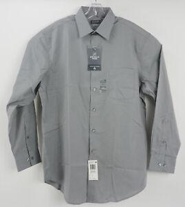 New Van Heusen Wrinkle Free Fitted Men's 16.5 32/33 Large Grey Stone Dress Shirt