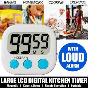 Digital Large Clock Magnetic Kitchen Cooking Timer Count Down Up Loud LCD Alarm