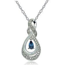 Sterlingsilber London Blauer Topas & Weiß Topas Infinity Twist Tropfen Halskette