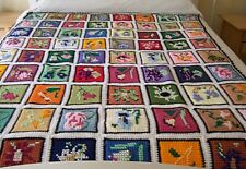 Vintage Granny Square Afghan Bedspread ~ Flowers Garden Theme Patchwork  ~ Queen