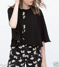 Zara size s ♡ 36 38 Black Cape Jacket Blazer kimono tunic Cape Gilet veste