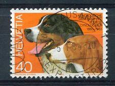 SUISSE, 1983, timbre 1186, CHIENS, BOUVIERS BERNOIS et SCHWYTZOIS, oblitéré