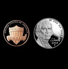 2013 S Lincoln Shield Penny and Jefferson Nickel ~ Mint Proof ~ Two Coin Set
