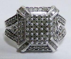 925 Sterling Silver Square Halo Frame 82 Diamond Ring Sz 5.75 Ladies .82tcw