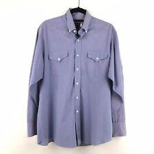 VTG Panhandle Slim Men's Size 16.5 X 36 Buttondown Western Shirt Blue Purple M28