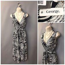 George Black & White Sleeveless Buttoned Belted Summer Dress UK 12 EUR 40 NEW