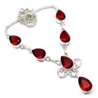 Garnet Quartz Gemstone Ethnic Handmade Jewelry Necklace 18'' to 24'' jU349