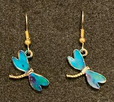 DRAGONFLY Earrings Stainless Hook New Goldtoned (B)