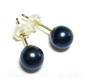 10-11mm Round Japanese South Sea Black Pearl Earring Studs In 14k Stud Gold