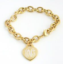 Heart Tag Bracelet Women's Stainless Steel Gold Plated Engraved with name