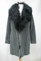 MICHAEL KORS Ladies Black White Houndstooth Wool Blend Fur Collar Coat S