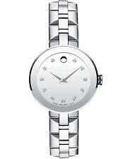 Movado SWISS Sapphire Diamond Mirror Dial Stainless Steel Ladies Watch (0606814)