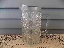 Vintage Clear Glass Windsor Button & Cane Small Pitcher