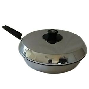 Revere Ware Skillet Frying Pan Copper Core With Lid Stainless Steel Vintage Cook