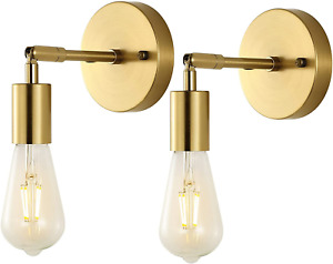 BAODEN Brushed Brass Bathroom Wall Sconce Set of 2 Vintage Industrial Wall Lamp