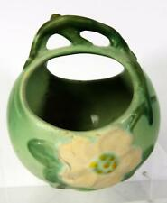 Weller Art Pottery Basket Planter - White Rose Pattern