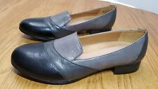 NEW Naturalizer 8N NARROW Coretta Black Grey Leather Flats Loafers Contour N5