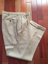 Nautica 100% Wool, Pleated Dress Pants with Cuffs, 36X32, Beige Color