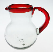 Mexican Glass Pitcher, hand blown, Red rim Red Handle, 2.5 qt, bola design