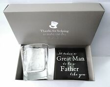 """Father of the Bride"" WEDDING GIFT -Whisky Glass & Coaster Set in a GIFT BOX-NEW"