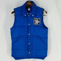 Vintage Swingster Michelin Patch Puffer Vest Blue Snap Front Adult Size Small