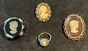 Traumhafter Kamee Gemmen Schmuck 585er Gold Ring mit Silber und Broschen Antik