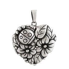 Ladybug Flower Locket - 925 Sterling Silver - Heart Photo Keepsake Family NEW