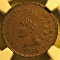 1874 Indian Head Cent graded AU55 by NGC