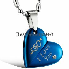 """Blue Stainless Steel Cupid Arrow Heart """" I Love You """" Engraved Pendant Necklaces"""