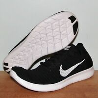 Nike Free RN Flyknit 2016 Running Shoes Mens 12 831069-001 Black White New
