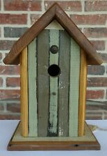 Handmade Antique Pine/Knotty Pine Peak Roof Bluebird Collectible Birdhouse