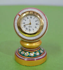 """3"""" White Marble Table Clock Natural Stone Handpainted Wedding Gifts H693"""