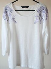 Dorothy Perkins White With Blue Embroidered Broderie Anglais Fine Top NEW 10