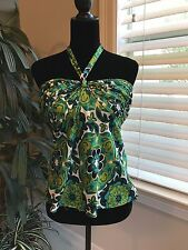 ANN TAYLOR Strapless Halter Top Size 8 Silk, Green Floral NWT