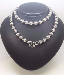 Miran 250667 Sterling Silver 925 Large Beaded Necklace 60cm 53.5g RRP $349