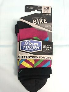 Darn Tough Graphic Stripe Micro Crew Ultra Light Women's Sock: Pink L Wool Bike