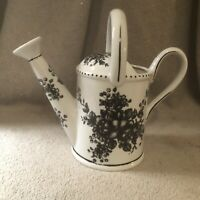 "White Ceramic w/black floral accent 9"" Watering Can Planter Flower Vase"