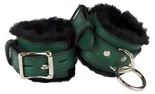"""Wrist Restraints Green with Black Faux Fur Linning Genuine Leather """"NEW"""""""