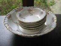 Antique Nippon 6 Piece Hand Painted Porcelain Berry  Bowl Set
