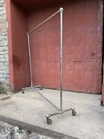 1940s Chrome Pipe Clothing Rack Rolling Closet Industrial Mercantile Union Made