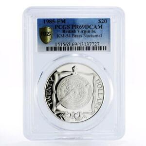 British Virgin Islands 20 dollars Brass Nocturnal PR69 PCGS silver coin 1985