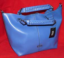 New MSK Elegant Blue Faux Leather Tote Bag Large Roomy Handbag