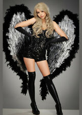 Deluxe Extra Large Black and Silver Feather Angel Wings